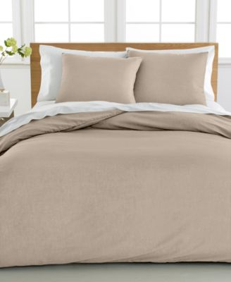Cotton Linen Full/Queen Duvet Cover 3-Piece Set