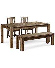 """Canyon 4 Piece Dining Set, Created for Macy's,  (72"""" Table, 2 Side Chairs and Bench)"""