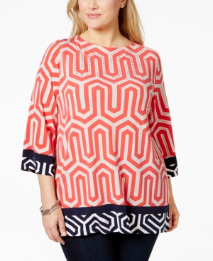 Jm Collection Plus Size Embellished Border-Print Tunic, Only at Macy's