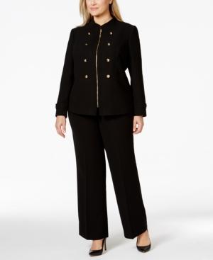 Tahari Asl Plus Size Crepe Military Pantsuit
