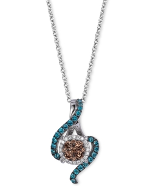 Le Vian Exotics Chocolate, White and Blue Diamond Pendant Necklace (3/8 ct. t.w.) in 14k White Gold