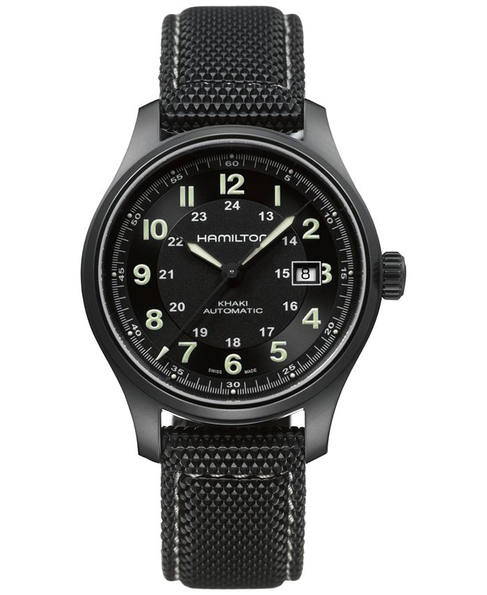 Hamilton - Men's Swiss Automatic Khaki Field Black Canvas Strap Watch 42mm H70575733