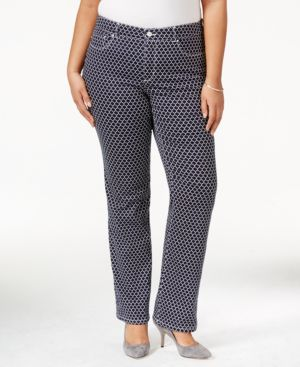 Charter Club Plus Size Printed Straight-Leg Jeans, Only at Macy's