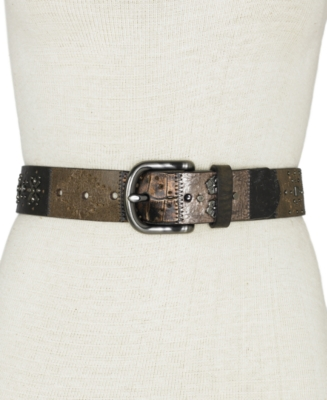Fossil Midnight Patchwork Belt - Accessories