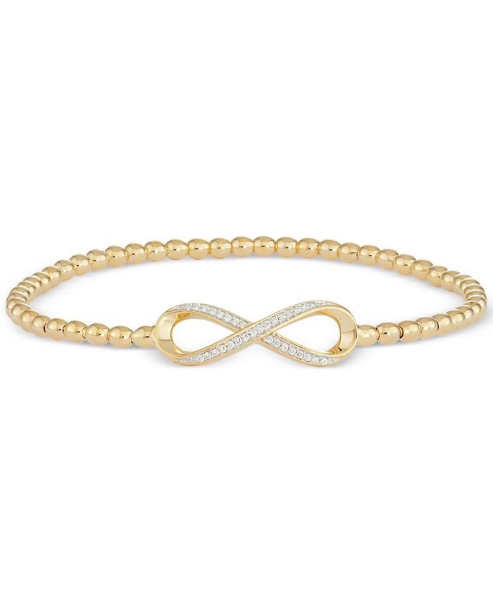 Wrapped - Diamond Infinity Bead Bracelet (1/6 ct. t.w.) in 14k Gold over Sterling Silver