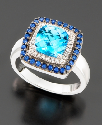 Le Vian 14k White Gold Blue Topaz (2-5/8 ct. t.w), Diamond (1/10 ct t.w.) and Sapphire Accent Ring