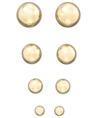 Gold Ball Stud Earrings (4mm) in 14k Yellow, White or Rose Gold