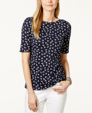 Charter Club Pima Cotton Tee, Bird Print
