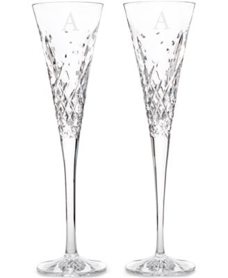 Waterford Wishes Happy Celebrations Monogram Toasting Flutes Pair, Block