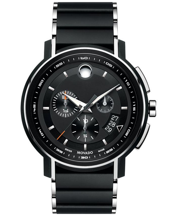 Movado - Men's Swiss Chronograph Strato Silver-Tone & Black PVD Stainless Steel Bracelet Watch 44mm 0607006