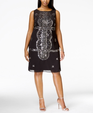Adrianna Papell Plus Size Sleeveless Beaded Cocktail Dress $189.00 AT vintagedancer.com