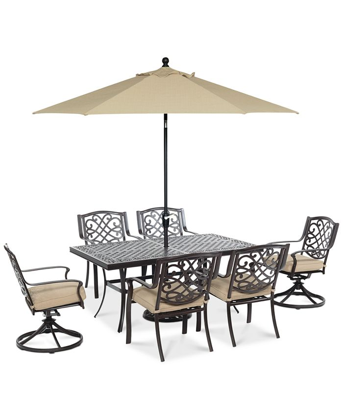 Furniture - Park Gate Outdoor 7-Pc. Set (Rectangular Dining Table, 4 Dining Chairs & 2 Swivel Rockers)