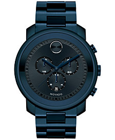 Movado Unisex Swiss Bold Blue Ion-Plated Stainless Steel Bracelet Watch 44mm 3600279