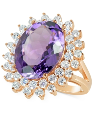 Amethyst (9 ct. t.w.) and Diamond (1-5/8 ct. t.w.) Cocktail Ring in 14k Rose Gold