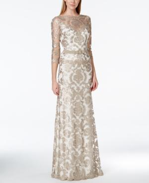 Tadashi Shoji Damask Sequin Lace Bow Gown $499.00 AT vintagedancer.com