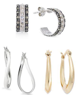 Large Sterling Silver Wave Hoop Earrings, 1.5