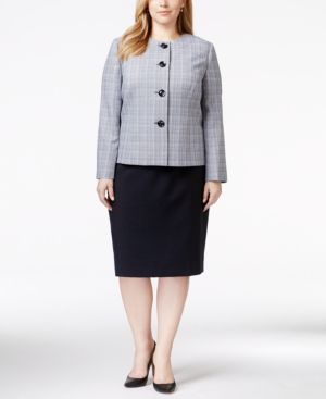Le Suit Plus Size Plaid Collarless Tweed Skirt Suit
