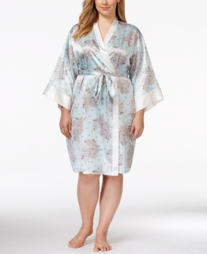 Morgan Taylor Plus Size Floral-Print Satin Robe,  Only at Macy's plus size,  plus size fashion plus size appare