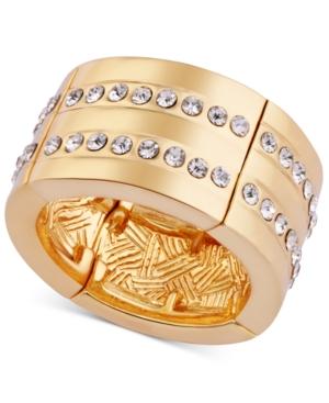 T Tahari Gold-Tone Pave Stretch Ring