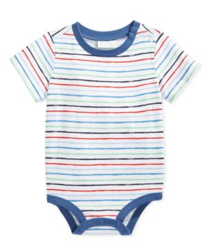 First Impressions Baby Boys' Short-Sleeve Stripe Bodysuit, Only at Macy's