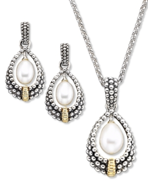 14k Gold & Sterling Silver Cultured Freshwater Pearl Pendant & Earring Set