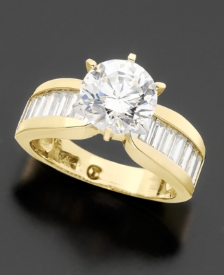 14k Gold Cubic Zirconia Ring (2 ct. t.w.) - Engagement Ring