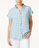 Style & Co. Plus Size Short-Sleeve Gingham Shirt Only at Macys