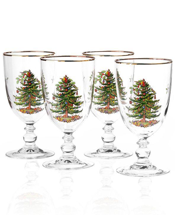 Spode Christmas Tree Glassware Goblet, Set of 4
