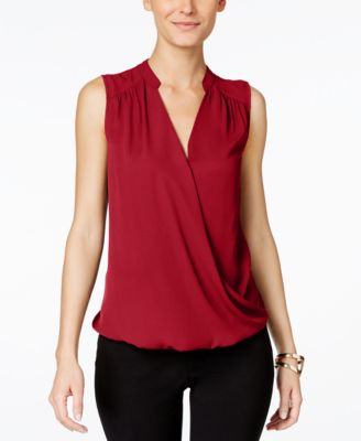 Image of INC International Concepts Sleeveless Surplice Top, Only at Macy's