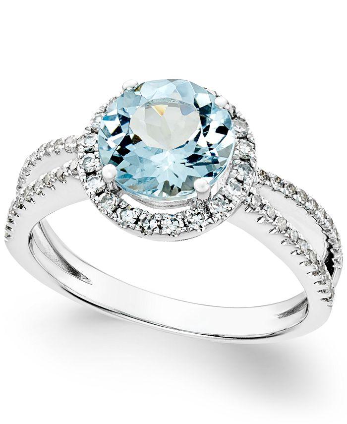 Macy's - Aquamarine (1-1/2 ct. t.w.) and Diamond (1/3 ct. t.w.) Split Shank Ring in 14k White Gold