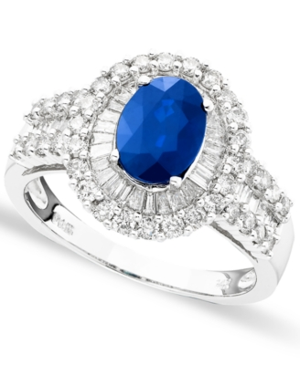 14k White Gold Sapphire (1-3/8 ct. t.w.) & Diamond (1 ct. t.w.) Ring