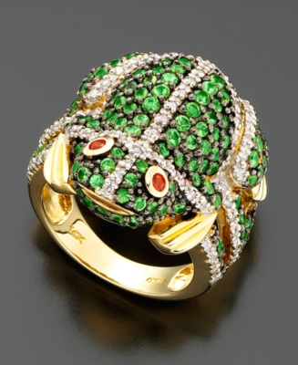 14k Gold Tsavorite (2-1/4 ct. t.w.) & Diamond (3/8 ct. t.w.) Frog Ring - Cocktail Ring