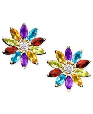 14k Gold Multigemstone (1-1/3 ct. tw.) & Diamond Accent Flower Stud Earrings