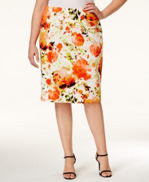 Kasper Plus Size Floral-Print Scuba Skirt