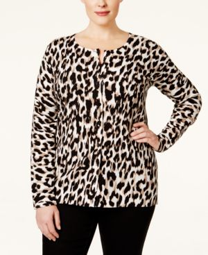 August Silk Plus Size Printed Cardigan, Only at Macy's