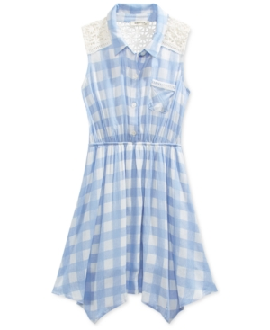 Monteau Girls 39 Blue Check Print Shirt Dress Dealtrend