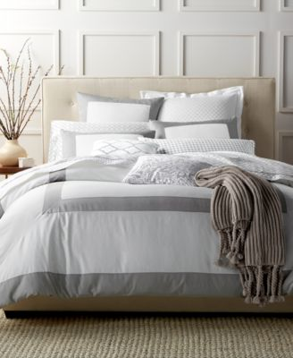 Charter Club Damask Designs Colorblock Dove King Duvet Set, Only at Macy's