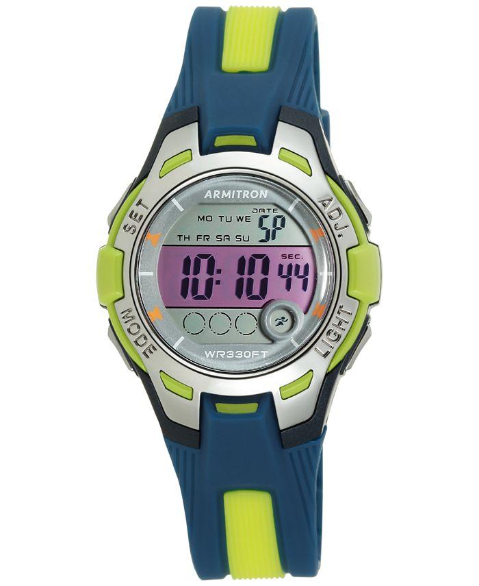 Armitron - Women's Digital Navy and Light Green Strap Watch 35mm 45-7030NVLG