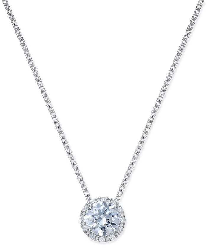 Arabella - Swarovski Zirconia Halo Pendant Necklace in Sterling Silver
