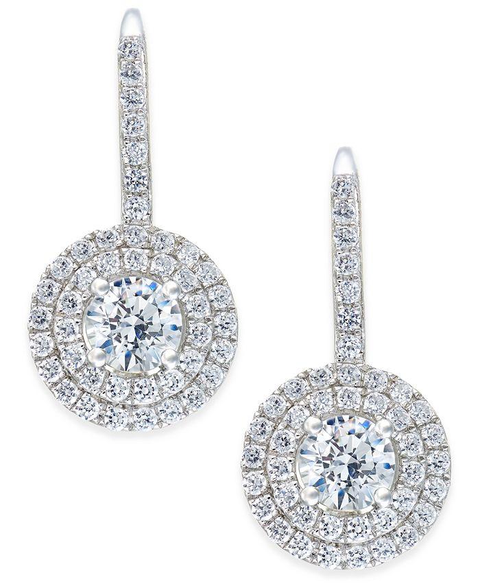 Arabella - Swarovski Zirconia Circle Cluster Drop Earrings in Sterling Silver