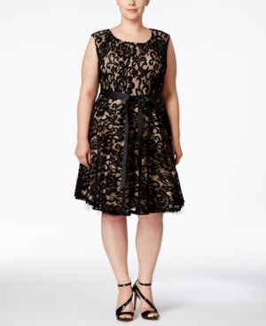 Betsy & Adam Plus Size Lace Fit & Flare Dress