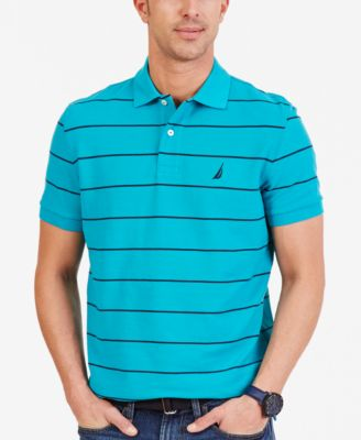 Image of Nautica Men's Striped Performance Deck Pique Polo