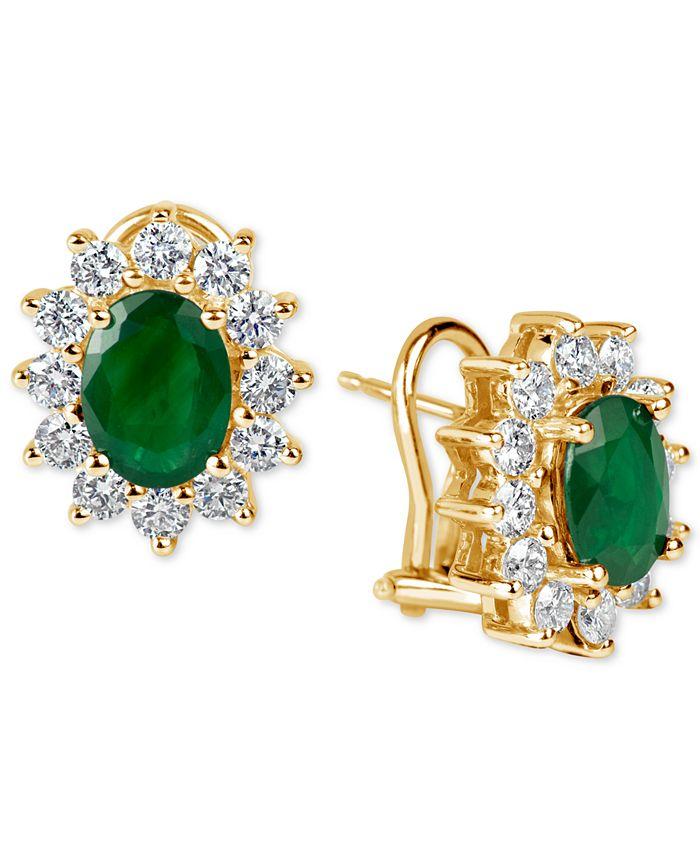 Macy's - Ruby (2-1/5 ct. t.w.) and Diamond (1-1/5 ct. t.w.) Earrings in 14k Gold