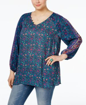 Lucky Brand Trendy Plus Size Map-Print Blouse