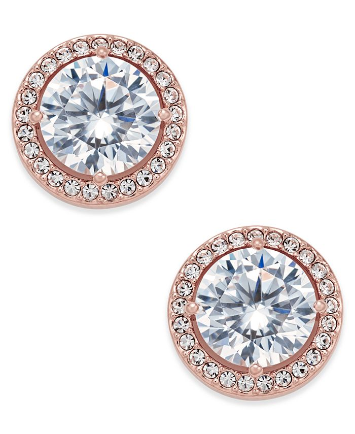 Eliot Danori - Rose Gold-Tone Crystal and Pavé Round Stud Earrings