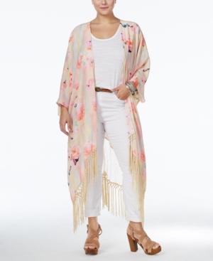 1920s Style Wraps Melissa McCarthy Seven7 Plus Size Lace-Back Fringe Kimono Cardigan $93.99 AT vintagedancer.com