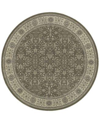 "Tidewater Floral Sarouk Grey/Ivory 7'10"" Round Rug"