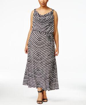 Calvin Klein Plus Size Sleeveless Cowl-Neck Maxi Dress