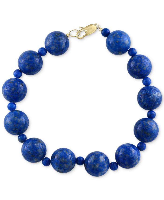 EFFY Collection EFFY® Lapis Lazuli (4 & 12mm) Beaded Bracelet in 14k Gold & Reviews - Bracelets - Jewelry & Watches - Macy's