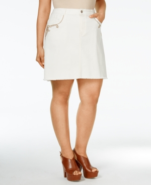 Nanette by Nanette Lepore Plus Size Embroidered Denim Skirt,  Only at Macy's plus size,  plus size fashion plus size appare